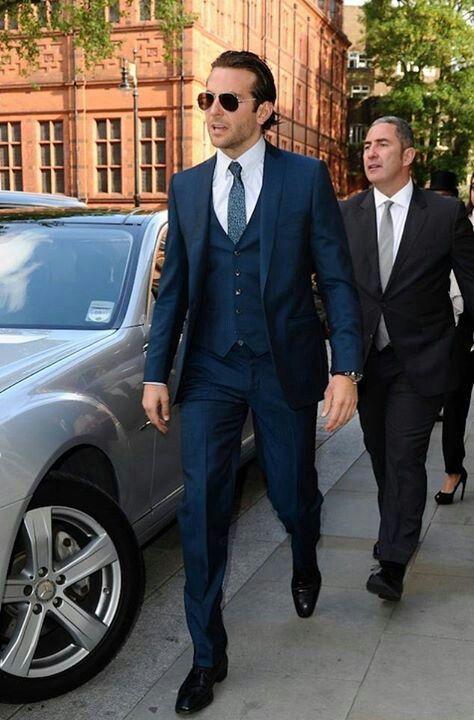 Bradley Cooper in navy 3 piece suit | Beautiful people | Pinterest