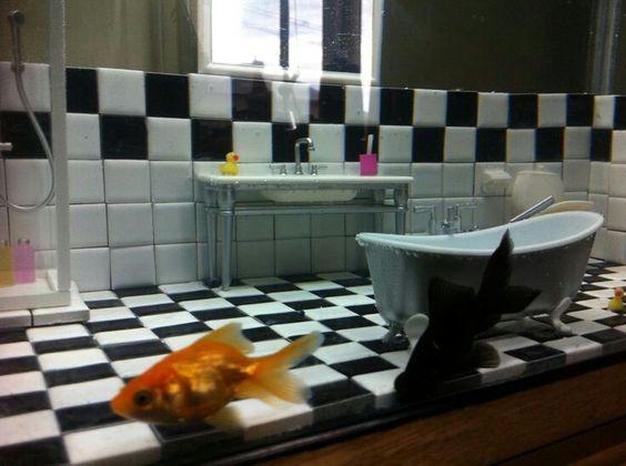 Bathroom fish tank