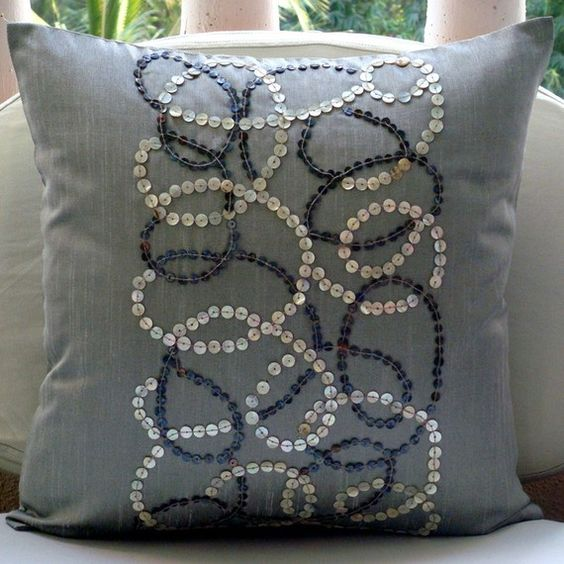 Luxury Grey Decorative Pillow Cover, 16