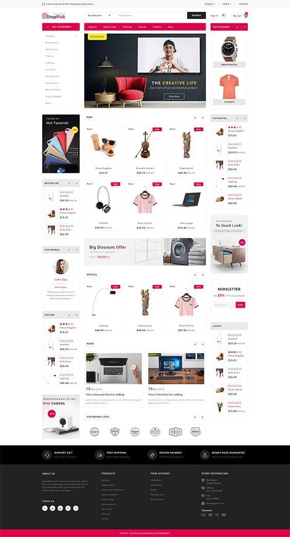 Template Is A Good Choice For Selling Fashion Electronics Art Webibazaar Webiarch Bicycle F Prestashop Themes Online Shop Design Prestashop Templates