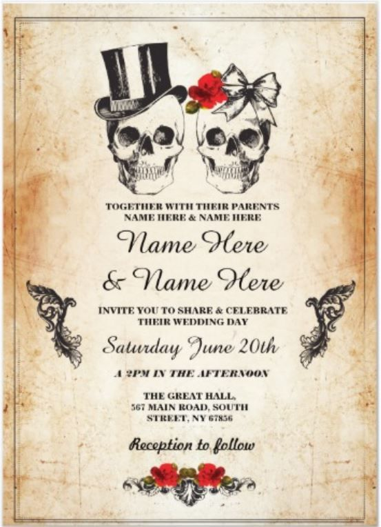 Skull Wedding Halloween Sugar Gothic Floral Invite Zazzle Com In 2021 Halloween Wedding Invitations Halloween Themed Wedding Classy Halloween Wedding