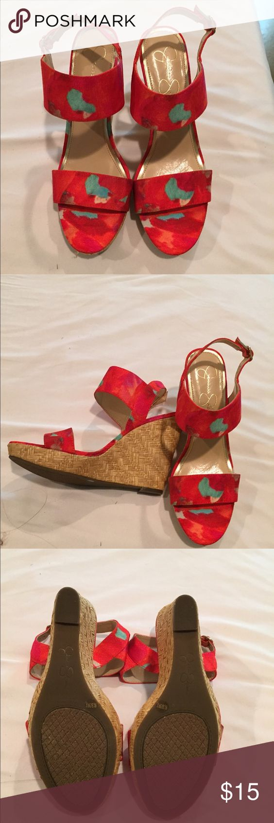 Jessica Simpson wedges Beautiful Jessica Simpson wedges, bright red,pink,orange with a little mint color as well size 9.5 with a 5 inch heel, brand new never worn Jessica Simpson Shoes Wedges