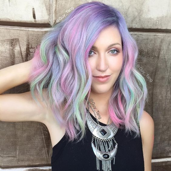 "Guy Tang on Instagram: ""Rainbow sorbet using @olaplex no 2 and vivid tones are our best friend! Mix and play and customize pastel shades while rebonding and strengthening the hair! Prebase using @kenraprofessional silver metallics @kasekathleen """