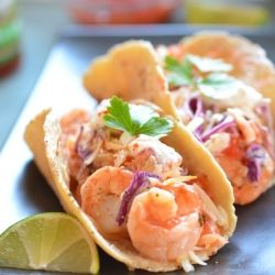 Fresh shrimp tacos with jalapeño lime slaw & pico de gallo
