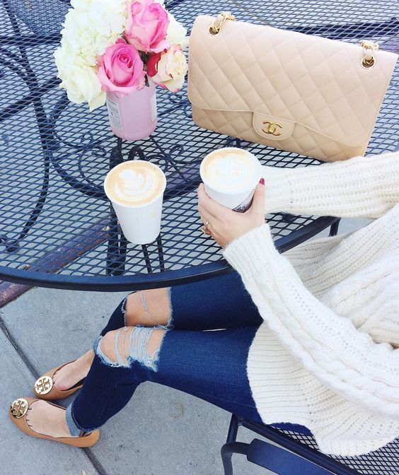 """""""Vanilla latté date... ☕️ This sweater is so soft & cozy, you can't see from this pic but it's actually off-shoulder! """""""