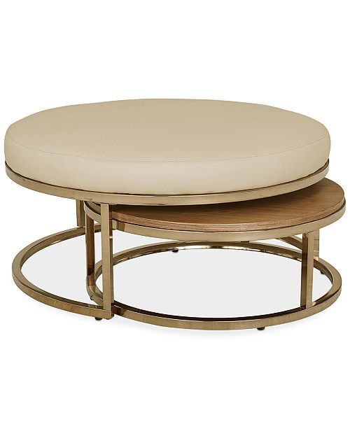 Jennova Upholstered Round Nesting Coffee Table Created For Macy S