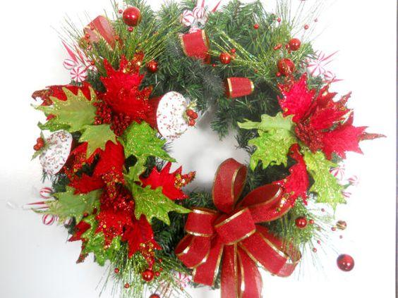 #Christmas #DoorWreath  Poinsettia  Glitter by ArtificialWreaths, $79.00