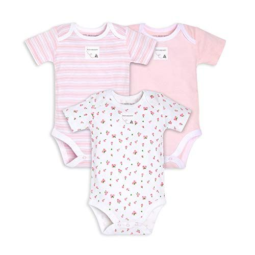 Burts Bees Baby Baby Bodysuits 3-Pack Long /& Short-Sleeve One-Pieces 100/% Organic Cotton