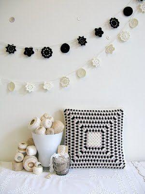 Modern Crochet bunting: Crochet Knitting, Black And White, Emma Lamb, Crochet Snowflakes, Crochet Pillows, Crochet Cushions, Crochet Inspiration, Crochet Garlands