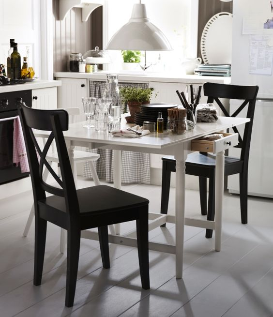 shorten an extendable ingatorp table and pull in ingolf chairs for a quiet dinner at home. Black Bedroom Furniture Sets. Home Design Ideas