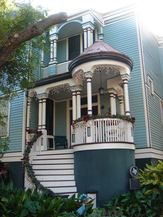 Light Blue Queen Anne Victorian Home w/ White trim and Turreted porch detail - Galveston Island, Texas   c. 1895