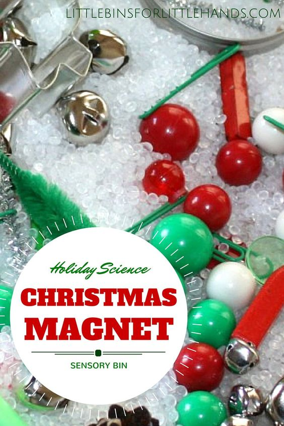 Christmas Magnet Science Sensory Play Activity for Kids Holiday Sensory Bin