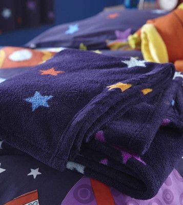 AVY BLUE STARS SPACE ROCKET FLEECE THROW - BOYS/NURSERY