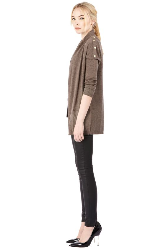 Snap into the cold | Brown RIB BACK CARDIGAN | Warehouse