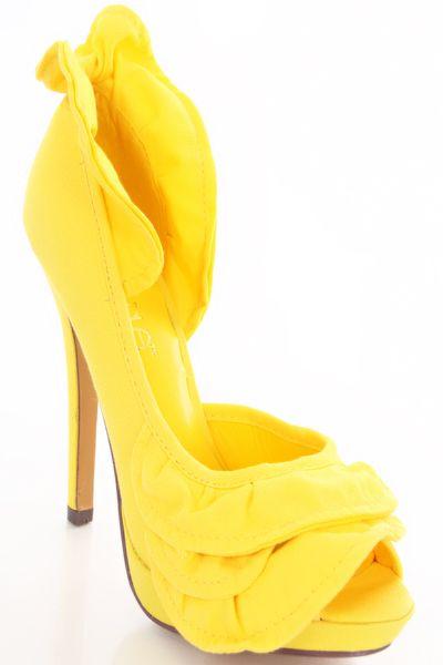 Yellow Canvas Ruffled Pump Heel
