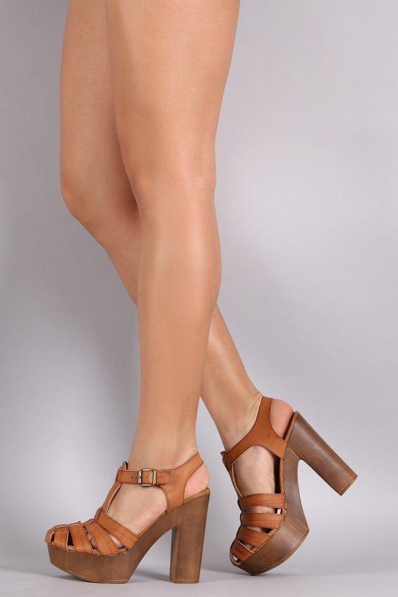Bamboo Fisherman Chunky Faux Wooden Platform Heel | My SOLES ...