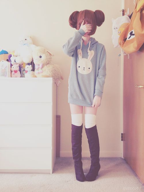 If I owned this bunny hoodie, I would wear it all of the time because it's just too adorable! | Fashion | Pinterest