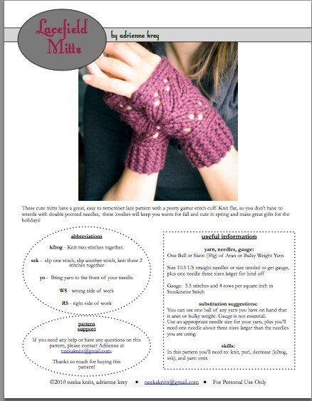 TEJER patrón archivo PDF guantes Fingerless por NeekaKnits en Etsy