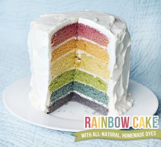 rainbow cake using natural dyes - so maybe not so healthy but healthier?