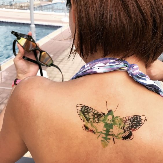 Colour Luna Moth Temporary Tattoo Sticker