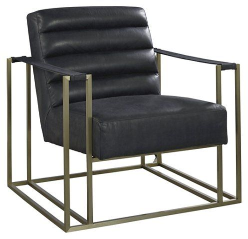 Jensen Accent Chair Black Leather Modern Leather Chair Mid