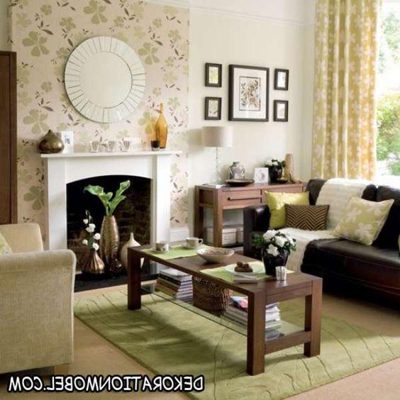 kamin wohnzimmer meeresdeko pflanzen kontrast runder spiegel