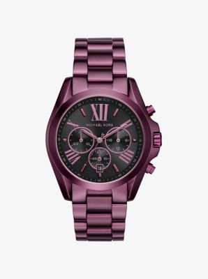 A pretty plum shade refines our Bradshaw watch this season. Chronograph detailing lends function, while the Roman numeral time-stops exude classic appeal. Finished with sleek black accents, this richly hued piece makes a modern statement.
