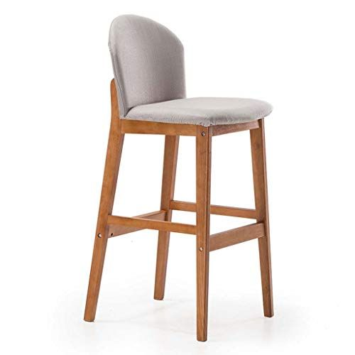 Ergonomic Desk Chair Wooden Bar Stool With Backrest And Footrest
