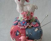 Vintage Figurine PINCUSHION  Little Vintage Lamb