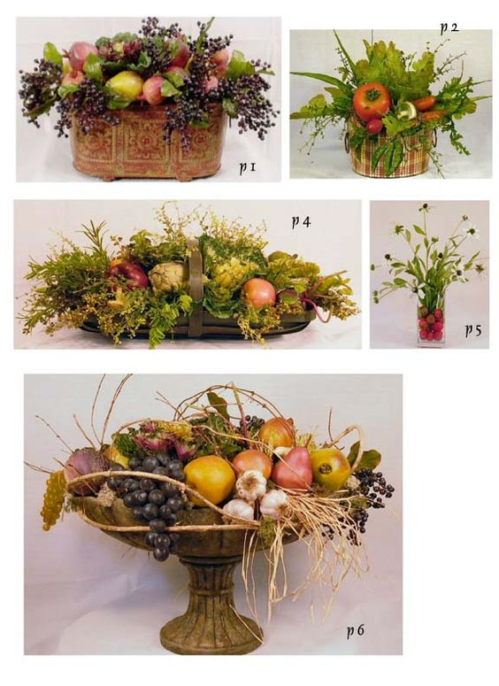 artificial fruit arrangements, tuscan produce centerpiece