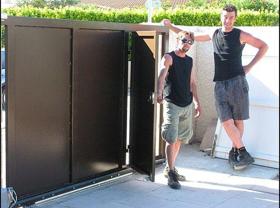 Portail coulissant avec portillon integr relooking for Portail coulissant portillon