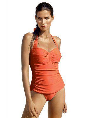 Badeanzug in raffinierter Tankini-Optik in orange