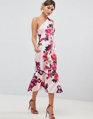 ASOS DESIGN - Robe mi-longue asymétrique à fleurs et rayures