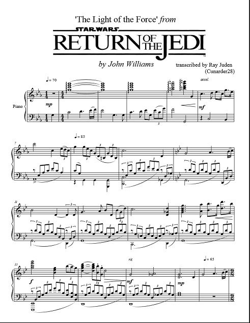Star Wars Return Of The Jedi The Light Of The Force Piano