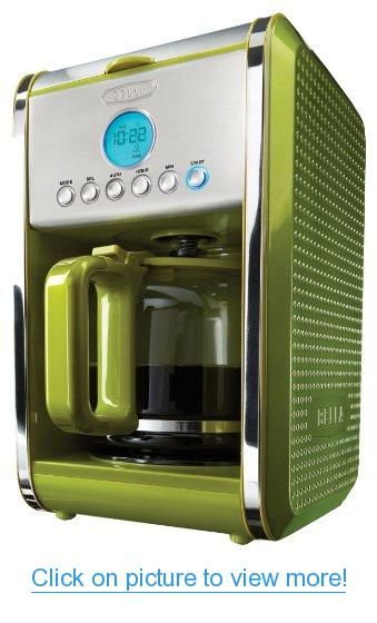 BELLA 13912 Dots Collection 12-Cup Programmable Coffee Maker, Green