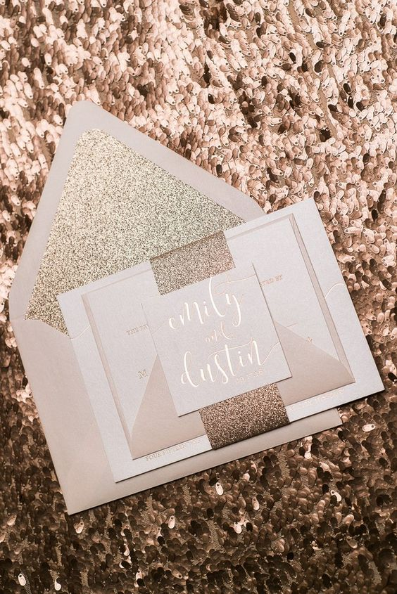 Chelsea suite styled glitter package rose gold for Inexpensive glitter wedding invitations
