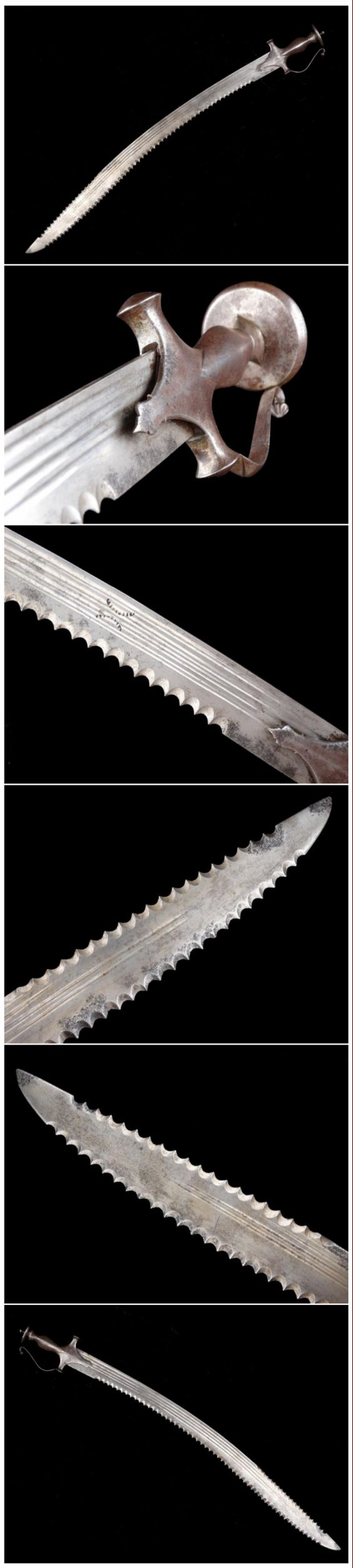 Indian sossun patta sword with serrated blade. Early to middle 19th Century All steel hilt Blade length 27 5/8 inches Overall length 32 inches.