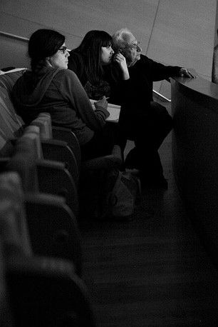 Kate & Laura Mulleavy & Frank Gehry at a rehearsal for the LA Philharmonic