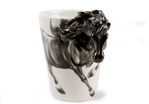 Horse Black Coffee Mug