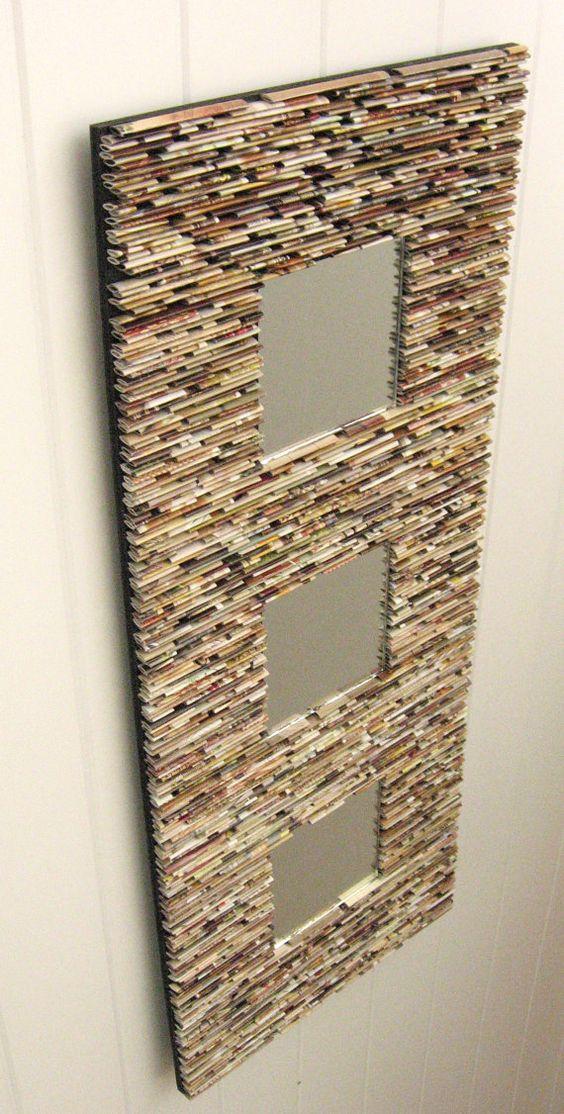 espejo neutro, pared arte - hecho de revistas recicladas, neutros, tostados, marrones, país, regalos únicos, de entrada wal espejo,
