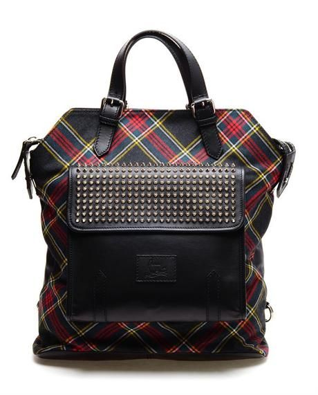 CHRISTIAN LOUBOUTIN : Syd Spiked Leather and Tartan Backpack