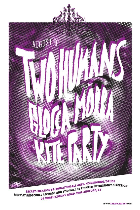 Thursday August 9, 2012 Two Humans Glocca Morra, Kite Party #thearcagency #arcagency #arc #diy #promotion #booking #bookingagency #poster #concertposter #flier #music #art #concert #shows #local #localmusic #connecticut #ct #musicvenue #livemusic #allages #wallingford #twohumans #gloccamorra #kiteparty #redscrollrecords #redscroll