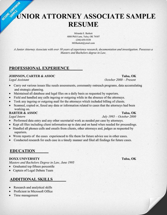 Junior Attorney Associate Resume Sample - Law (resumecompanion - legal associate sample resume