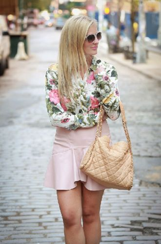Feminine Touch | Staci of Leather and Leops wears the Haute Hippie Garden of Eden floral print! Check out the post: http://bit.ly/1kH4PcM Shop the look here: http://www.hautehippie.com/garden-of-eden-ruffle-dress.html