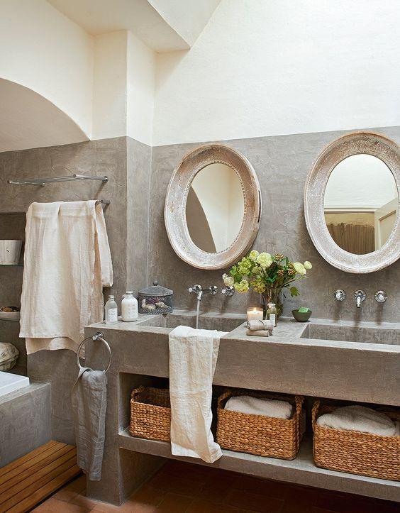 Bathroom | Concrete | Mirror | Interiors | Un antiguo pajar rehabilitado · ElMueble.com · Casas: