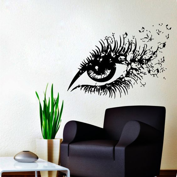 wall decals hairdressing hair beauty salon decal vinyl sticker woman eye with butterflies home decor makeup