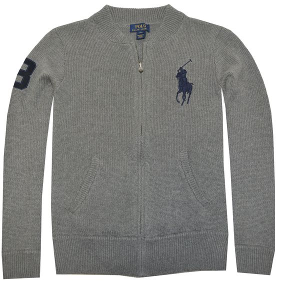 Polo Ralph Lauren Boys Big Pony Logo Full Zip Cardigan (S(8),