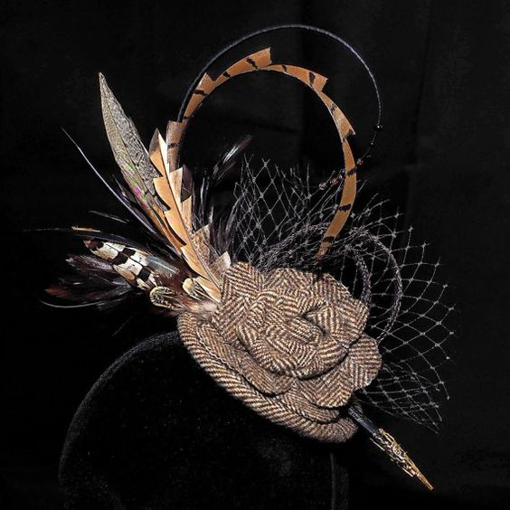 A stunning herringbone tweed fascinator. by andreahats on Etsy
