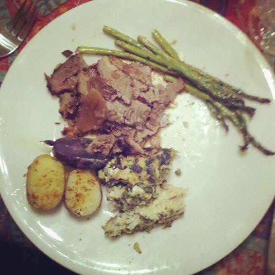 Grandmom's brisket, aunt mitzie's kuggle, and mom's asparagus. Amen.