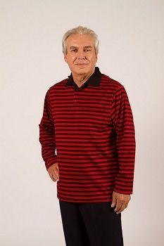 Polo adapté manche longue, offert en jersey uni ou à rayures.  Polyester ou mélange de coton et de polyester.